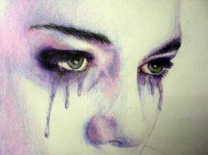 crying woman drawing