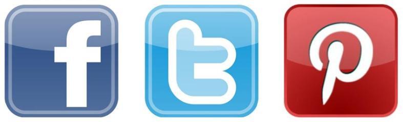 facebook, twitter & pinterest logos
