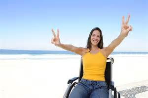 happy woman in wheelchair