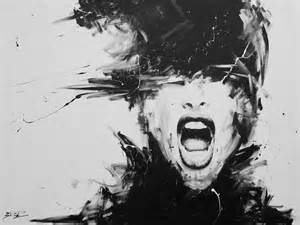 screaming black and white shattered woman