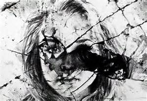shattered woman face