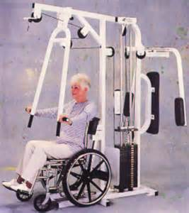 woman in wheelchair exercise equipment