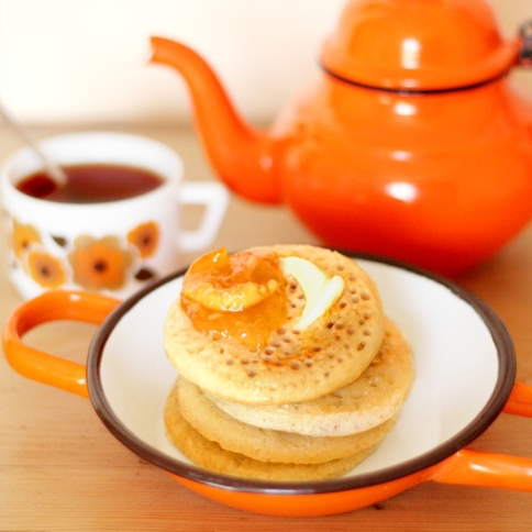 orange pot of tea and crumpet (for Mum's birthday)